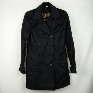H&M Trench Coat Women Size 8 Black